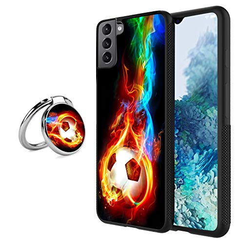 Black Samsung Galaxy S21 Case with Ring Holder Stand Flame Soccer Pattern 360 Rotation Ring Grip Kickstand Soft TPU and PC Anti-Slippery Design Protection Bumper for Samsung Galaxy S21