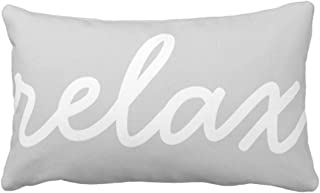Emvency Throw Pillow Cover Relax Gray & White Script Decorative Pillow Case Quote Home Decor Rectangle Queen Size 20x30 Inch Cushion Pillowcase