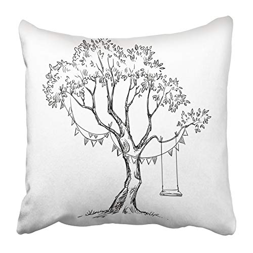 AEMAPE Throw Pillow Cases Line Tree Swing Sketch Garden Garland Holiday Black White Doodle 40X40 Cm Cushion Cover