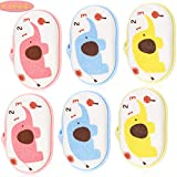 6 Pieces Baby Bath Shower Sponge Cartoon Elephant Bath Sponge Soft Body Foam Scrubber Sponge for Kids Babies Men Women, 3 Colors