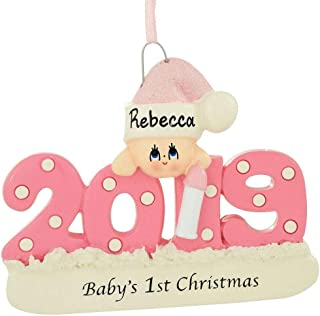 Baby's First Xmas Ornament 2019 - Pink/Girl - Includes Personalization