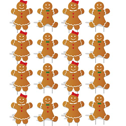 VictoryStore Yard Sign Outdoor Lawn Decorations: Gingerbread People Pathway Markers Set of 16 (Not Lighted), Includes 2 Stakes Per Marker