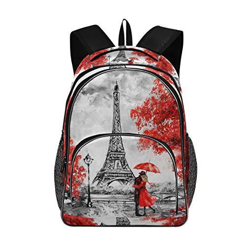 ISAOA - Bolsas escolares para adolescentes y niñas, estudiantes universitarios, de la Torre Eiffel de Francia, mochila de viaje con puerto de carga USB