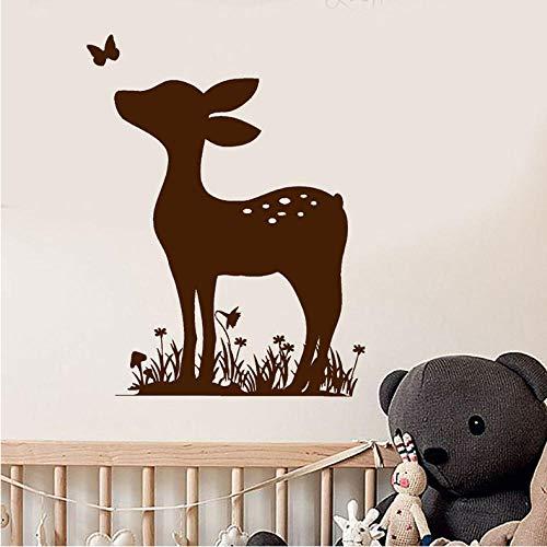 Ssiyun Fawn Deer Animal Nursery Baby Room Adesivi Murali Decalcomania Da Muro In Vinile Decor Classroom Wall Sticker Per La Decorazione Della Camera Da Letto Art 33 X 42Cm