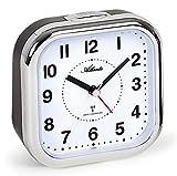 Atlanta - Reloj despertador grande XL para personas mayores, con números analógicos plateados 1829-19