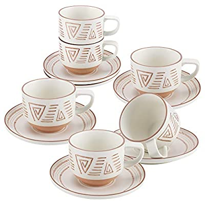 Stackable Porcelain Coffee/Tea Cup and Saucer Set, 7.8 Ounce Mugs for Coffee, Cappuccino, Latte, Americano and Tea - Set of 6 (Geometric Patterns)