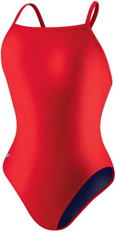 Speedo Women's Powerflex Eco Race Solid Flyback One Piece Swimsuit, True Red, 26