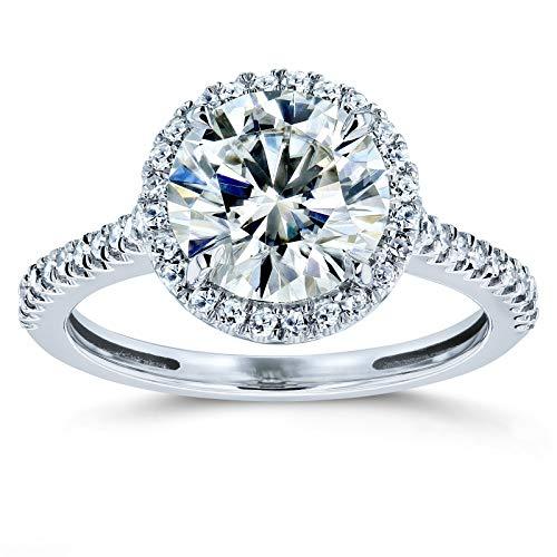Kobelli Round Brilliant Kobelli Moissanite Halo Engagement Ring 2 1/6 CTW 14k White Gold, 6.5