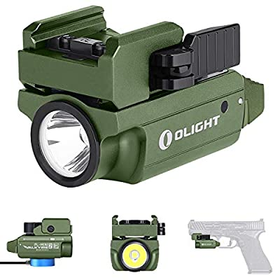 Olight PL-MINI 2 Valkyrie 600 Lumens CW LED Tactical Flashlight Magnetic Rechargeable with Adjustable Rail,Powered by a Built-in Battery, with SKYBEN Battery Case(OD Green)