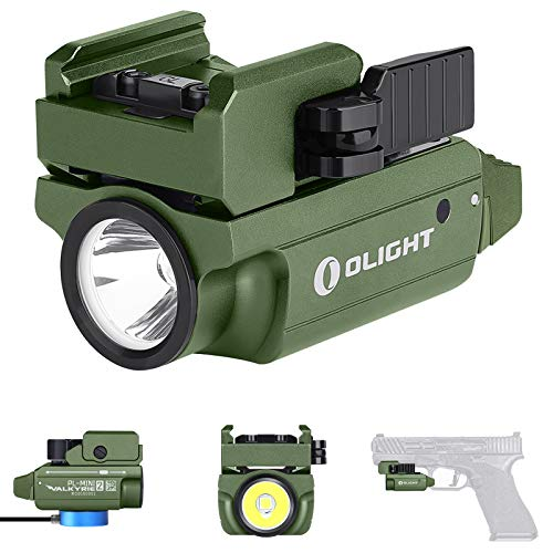 Olight PLMINI 2 Valkyrie 600 Lumens CW LED Tactical Flashlight Magnetic Rechargeable with Adjustable RailPowered by a Builtin Battery with SKYBEN Battery CaseOD Green
