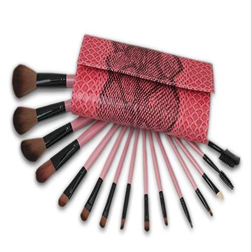 Brosse de maquillage 15 brosse de maquillage ensemble brosse rose serpent peau maquillage outil de maquillage pour appliquer uniformément Blush, crème, liquide, contour et poudre