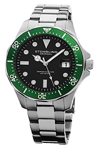 Stuhrling Original Men's 824.03 Aquadiver Date Stainless Steel Link Bracelet Watch