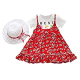 sunnymi - Conjunto de dos vestidos con sombrero para niños de 1 a 5 años b 18-24 Meses