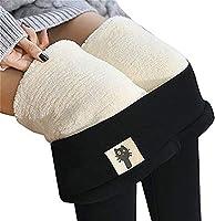 女性の超厚手のカシミヤレギンス、女性の冬のぬいぐるみ暖かいハイウエスト弾性スリムパンツ弾性パンツ厚く重いジョガーパンツ (Color : Black-B, Size : 6XL)