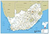 Sudáfrica mapa mural de carretera–Papel laminado [ga] A2 Size 42 x 59.4 cm