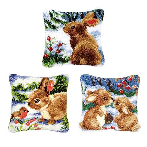 Bonarty 3 Piezas Kits de Enganche de Pestillo DIY Alfombra para Hacer Funda de Almohada Funda Decoraciones para El Hogar Conejo