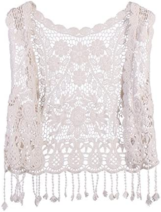 Toddler Kids Baby Girls Lace Crochet Hollow Out Cardigan Vest Tops Tassels Blouse Waistcoat product image