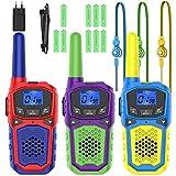 Walkie Talkie para Niños 3 Pcs 8 Canales y 9 Baterías Recargables Función VOX LCD Pantalla, hasta 3 ...