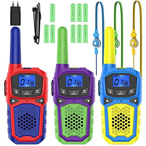 Walkie Talkie para Niños 3 Pcs 8 Canales y 9 Baterías Recargables Función VOX LCD Pantalla, hasta 3 KM en Area Abierta, Juegos de Aventura al Aire Libre Camping Senderismo
