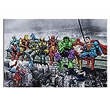 Banksy superhéroes cómics Poster Impresiones Pop Pared Arte Calle Arte Graffiti Lienzo Pintura Banksy Cuadro Vida habitación niño Dormitorio Decoracion 50x70cm sin Marco B106