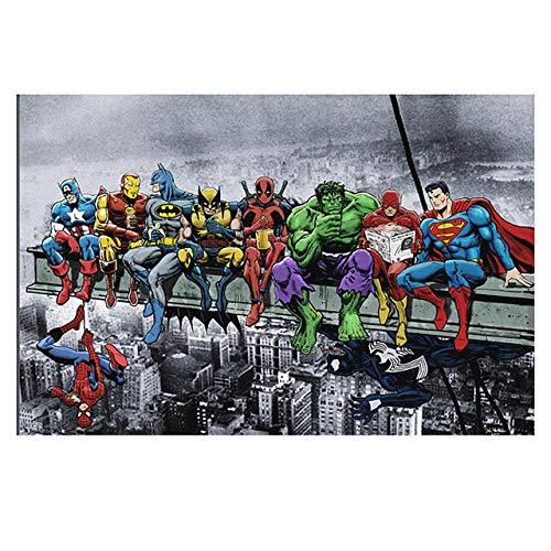 Banksy Superhéroes Historietas Poster Grabados Pop Pared Arte Calle Arte Graffiti Lienzo Pintura Banksy Cuadro Sala Hogar Decoracion 40x60cm Sin Marco B107