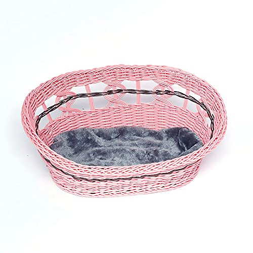 JIEUO Nido para Gatos Tejido de ratán, Nido para Mascotas Garland Hollow Kennel, Nido para Gatos extraíble y Lavable, Disponible en Todas Las Estaciones, Varios tamaños,Rosado,22×16