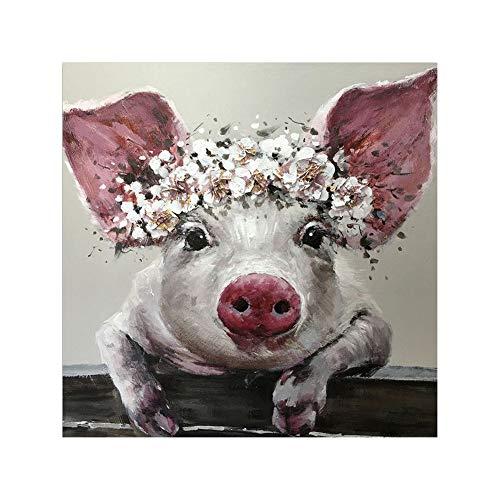 dontdo Bild auf Leinwand, Motiv Schwein mit großen Ohren, für Büro, Wohnzimmer, canvas, 1#, 40 x 40 cm