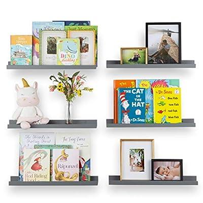 Wallniture Denver Floating Shelves for Wall, Kids' Bookshelf for Nursery Wall Decor, 22 Inch Gray Picture Ledge Shelf Set of 6