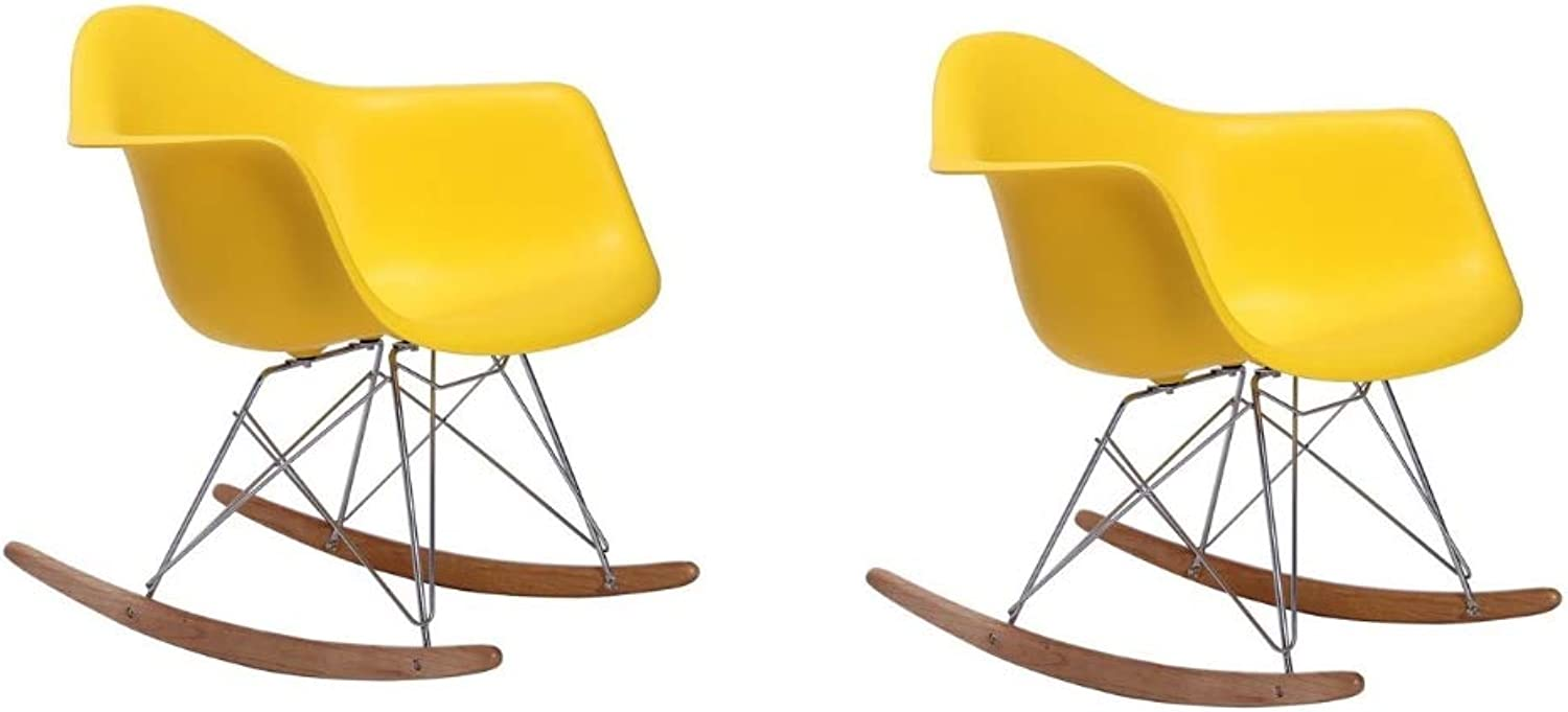 silver Import Eiffel Style Kids Rocking Chair with Chrome Legs, Yellow, Set of 2, Dining Chair