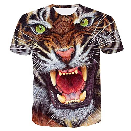 Camiseta de animal, diseño de lobo, gato, tigre, peces y peces, 3D, estampado, camisetas, camiseta informal de verano, deporte, manga corta (size120)