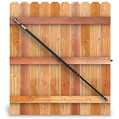 "True Latch 6' Telescopic Fully Adjustable Gate Brace - Wood Privacy Fence Anti Sag Gate Kit - Extends from 40"" to 72"" - Gate Hardware Kit for Outdoor Yard Wooden Fence Gates, 1 PATENTED USA made brace"