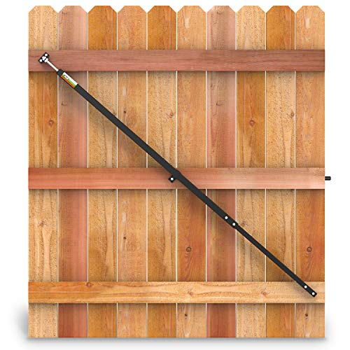 """True Latch 8' Telescopic Fully Adjustable Gate Brace - Wood Privacy Fence Anti Sag Gate Kit - Extends from 52"""" to 96"""" - Gate Hardware Kit for Outdoor Yard Wooden Fence Gates, 1 PATENTED USA Made Brace"""