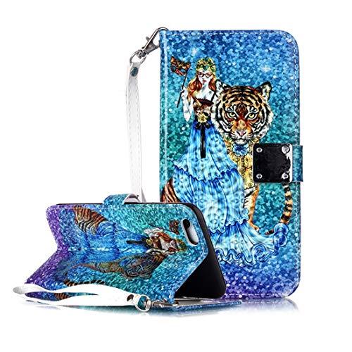 KIOKIOIPO-N Mode Magic 3D Helle farbige Zeichnung Muster Horizontal Flip PU-Leder-Kasten mit Halter & Card Slots & Wallet & Bilderrahmen for iPhone XS Max (Pattern : Beauty and Tiger)