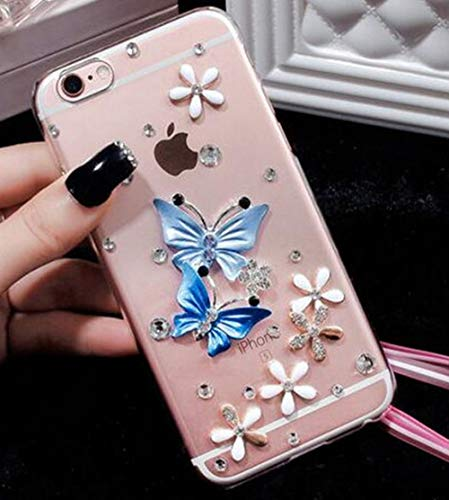 LIUYAWEI Butterfly Diamond Flower Rhinestone Case Cover For IPhone 11 12 Pro Max XR XS Max X 8 8Plus 7 7Plus 6 6S Plus 5 5S SE Phone Case,3,for iPhone 6 6S