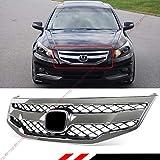 Fits for 2011-2012 Honda Accord 4 Door Sedan Black Chrome JDM Sport Style Mesh Front Bumper Grill Grille