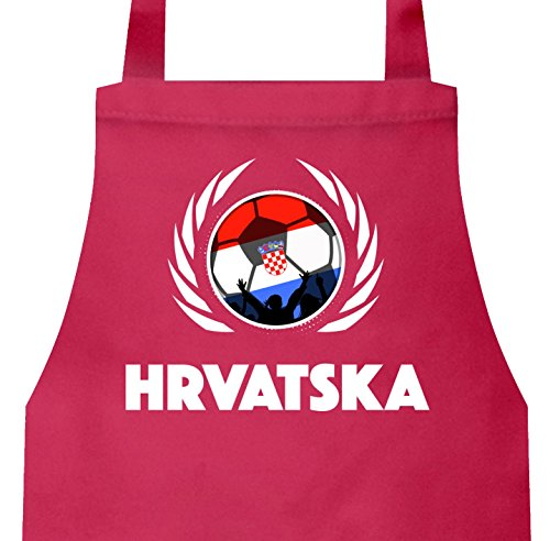 ShirtStreet Hrvatska Croatia Wappen Fussball WM Fanfest Grill Baumwoll Schürze Kochschürze Fußball Kroatien, Größe: onesize,Pink