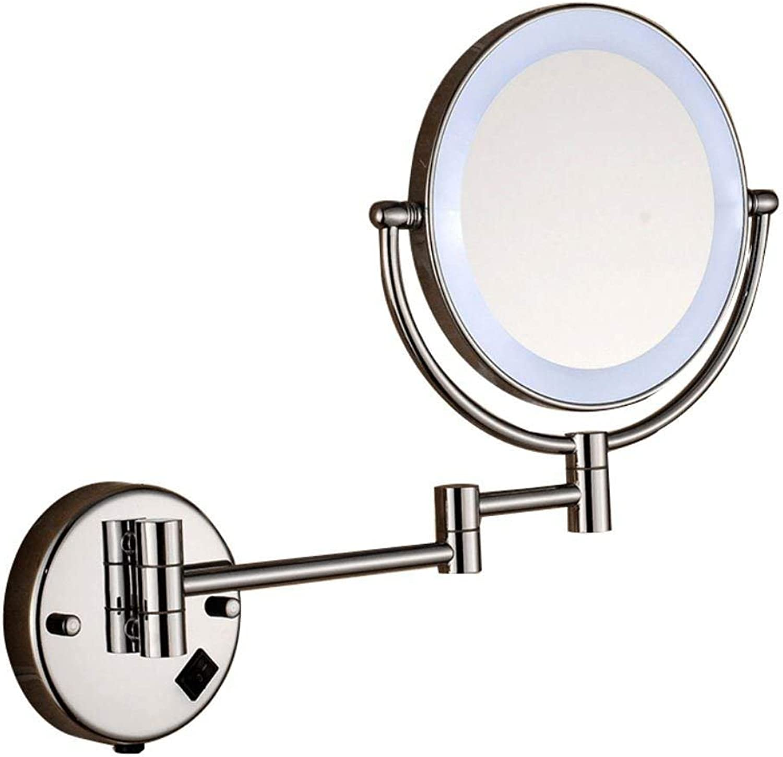 Mini Portable 8 Inch Full Copper Telescopic Mirror Double led Bathroom Bathroom Beauty Mirror Suitable for Bedroom and Bathroom