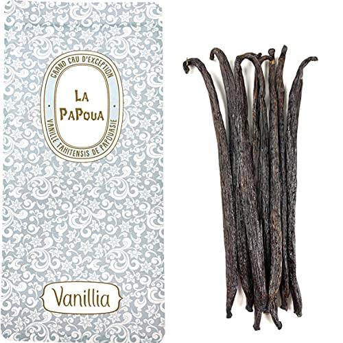 VANILLIA • 8 Vainas de Vainilla Tahitensis • Talla L (14-16cm) • GRAND CRU 'LA PAPOUA' • Para tartas, postres, extracto de vainilla, rones • Bolsa ZIP resellable y eco-responsable