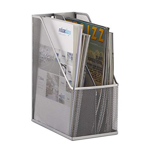 Relaxdays Stehsammler, 2 Fächer, Metallgeflecht, robuster Stehordner A4 - C4, Archivbox, Ablage für Dokumente, silber