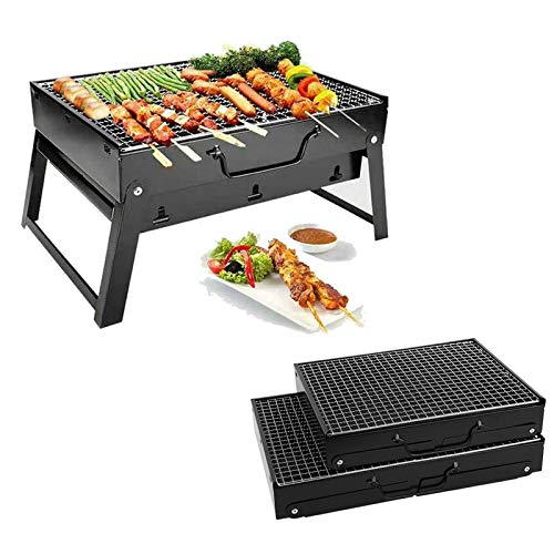 BBQ Grill Portable BBQ Grill for 1-6 People Small Size Charcoal Barbecue Table Desk Outdoor Camping Picnic Garden Party Grill BBQ Tool Black (35 x 26 x 20cm)