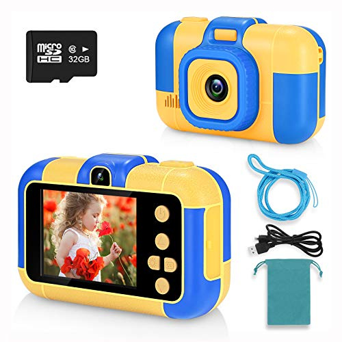 ASIUR Kids Selfie Camera,Toys for 3-7 Year Old Boys and Girls,12MP Children Digital Video Cameras with 1080P and 2.4 Inch IPS Screen,Birthday Gifts for Preshool Toddler,(32GB SD Card Included-Blue)