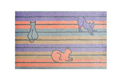 LifeStyle-Mat Designer Fussmatte Haustür – Fussmatten rutschfest und waschbar – Schmutzfangmatte/Fussabstreifer – Katze Flieder 40x60cm