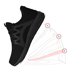 QANSI Mens Sneakers Non Slip Running Shoes Lightweight Mesh Breathable Tennis Workout Gym Shoes Outdoor Athletic Sport Shoes Black 12