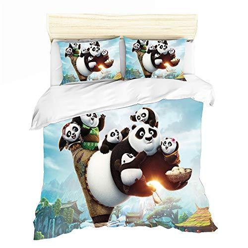 NICHIYO Juego de ropa de cama Kung Fu Panda con impresión digital 3D, ropa de cama infantil de 3 piezas, funda nórdica de microfibra transpirable juvenil (01,260 x 220 cm)