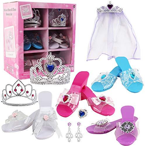 deAO Juego de Zapatos y Accesorios de Princesa Conjunto Infantil de Imitación 3 Pares de Zapatos con Tacón, Corona, Tiara, Diadema con Velo y Joyas a Conjunto Fabricado en Plástico