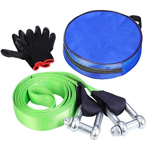 FIXKIT Abschleppseil, Auto Abschleppseil Starterkabel horizontale Tragkraft bis 12 Tonne inkl. Rutsch Handschuhe und Aufbewahrungstasche (5M lang)