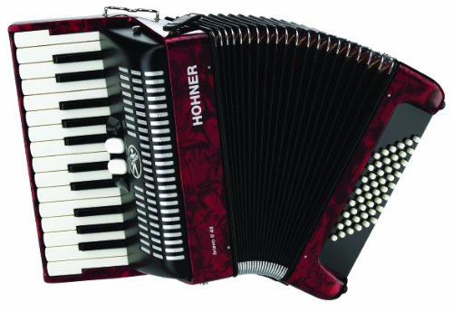 small Hohner Accordion BR48R-N Piano Accordion 26 Key 48 Bus Red