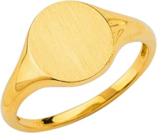 14K Yellow Gold Ladies Engravable Signet Ring