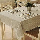 Mantel de tela de algodón y lino de TJW, color blanco, diseño tipo daisy con...