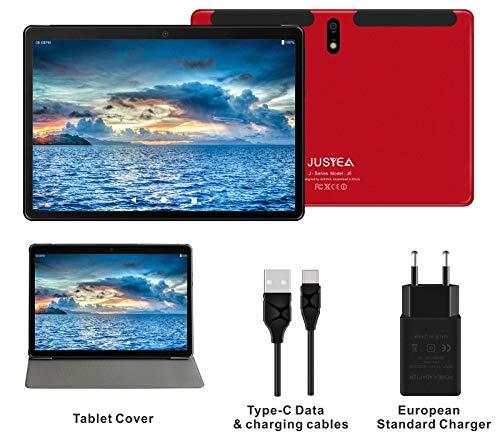 J5 Tablet JUSYEA : Ultra-Portátiles de 10 Pulgadas Android 9.0 Pie Tableta - RAM 4GB   64GB Expandible (Certificación Google gsm) - Batería de 8000mAh-SIM Dual & WiFi—Cubierta (Rojo)